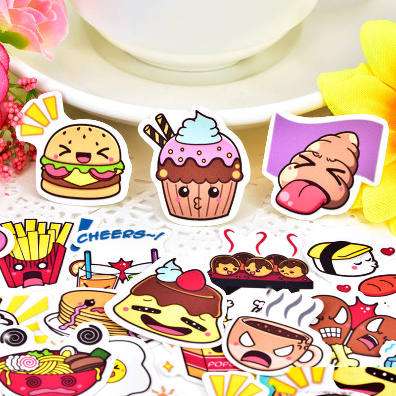 40pcs Cute Cartoon Foods Stickers Scrapbooking For Phone Car Case Waterproof Laptop Bicycle Notebook Backpack Kids Toy Stickers
