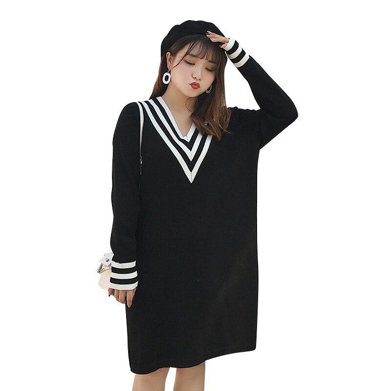 Mode coréenne Style printemps surdimensionné femmes tricoté chandail Long pull pour les femmes XXL et 3XL pour moins de 115 KG