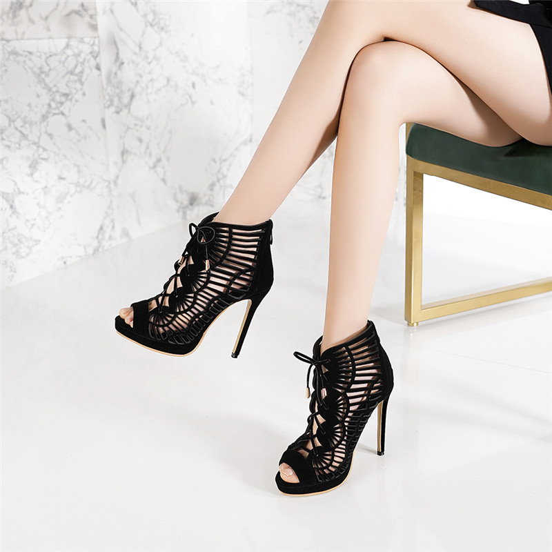 SARAIRIS Brand New Plus Size 28-54 Zip Hollow Bowtie High Heels Rome Shoes Woman Casual Party Ol Sexy Summer Evening Sandals 51