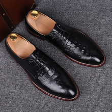 Crocodile Leather New Black Yellow Pointed Toe Business Casual Shoes Youth Men Groom Lace-Up Dress Wedding
