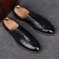 Zapatos de boda de cuero de cocodrilo nuevo negro amarillo puntiagudos de negocios Casual zapatos de boda de novio para jóvenes