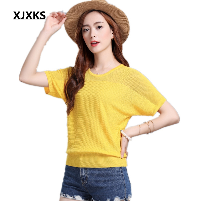XJXKS 2017 Summer new Women loose bat sleeve shirt hollow thin section was thin short-sleeved T-shirt knitted Top