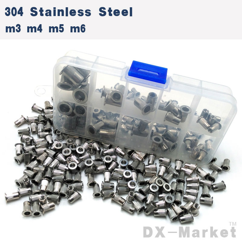 цена на M3-M6 , each 10pcs , SUS 304 Rivet Nut flat head insert nut , high quality antirust hardware , m3 m4 m5 m6 , T0108