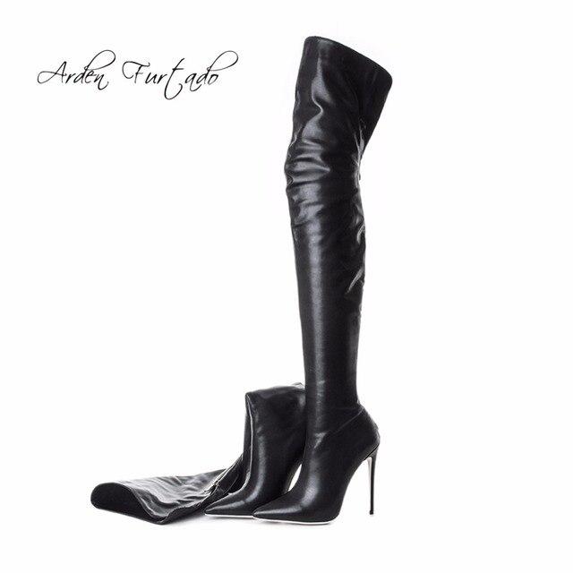 Arden Furtado 2018 yeni bahar moda diz üzerinde yüksek çizmeler seksi yüksek topuklu 12 cm ayakkabı kadın geri fermuar çizmeler büyük boyutu 40-48