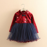 Chinese Style New Year Baby Girls Dresses Long Sleeves Thick Warm Toddlers Kids Clothes Children Dress 2018 T1/5028CO