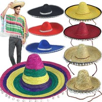 Mexican Sombrero Charro Hat Child and Adult Sizes Costume Dress Up Accessories Mariachi Band Spanish Fiesta Party Straw Hat