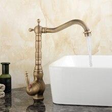 Античная латунь ванной кран Одной держать раковина для ванной смесителя горячей и холодной Tall кран на бортике туалете кран AB -005