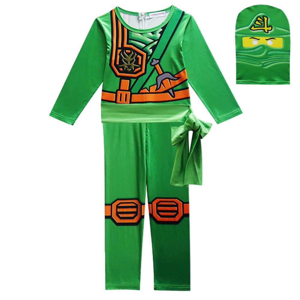 2019 Ninjago Cosplay disfraz niños niña ropa conjuntos superhéroe hombre araña máscaras traje Spandex Halloween Cosplay