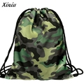 Xiniu Backpack Unisex Camouflage Printing Drawstring Bags School Bags For Girls Mochila Masculina #1215