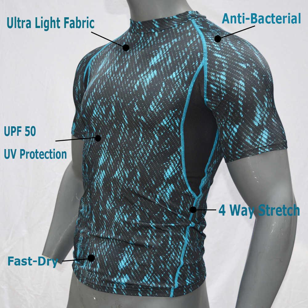 Мужская рубашка для серфинга с коротким рукавом из лайкры с принтом для подводной охоты, Рашгард, сухая одежда для серфинга, защита от ультрафиолета, UPF 50, пляжная одежда