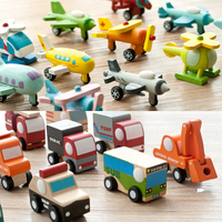 12pcs children wooden vehicle toys/ Kids baby wooden train and plane transportation motor model toys, free shipping