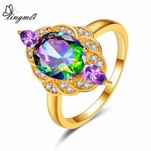 Lingmei Cocktail Gorgeous 925 Jewelry Oval Multicolor & White Purple Pink Cubic Zircon Silver Goldplated Ring For Women