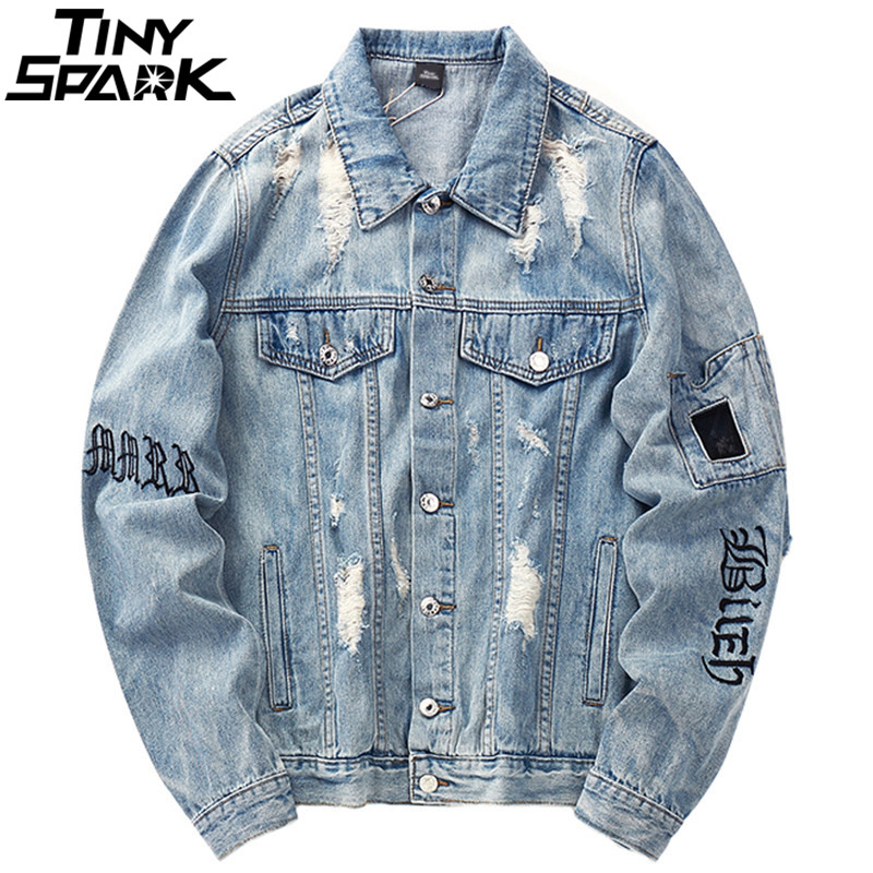Mens Denim Bomber Jackets Ripped Holes Vintage Gothic Letter Embroidery Short Jacket Jeans Distressed Streetwear Hip Hop 2018-in Jackets from Men's Clothing    1