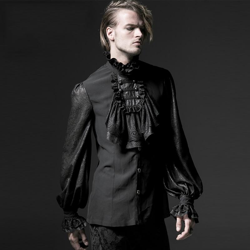 hombres gasa camisas negro otoño en Camisas Prom vestido blusas con gótico encaje camisa de fiesta victoriana primavera blanco corbata Steampunk caballeros C5nSFqZ