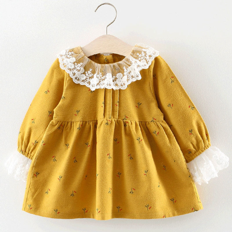 Melario Baby Dresses 2018 New Spring Autumn Baby Girls Clothes Printing Girls Princess Lace Dress Suit Newborn Dress