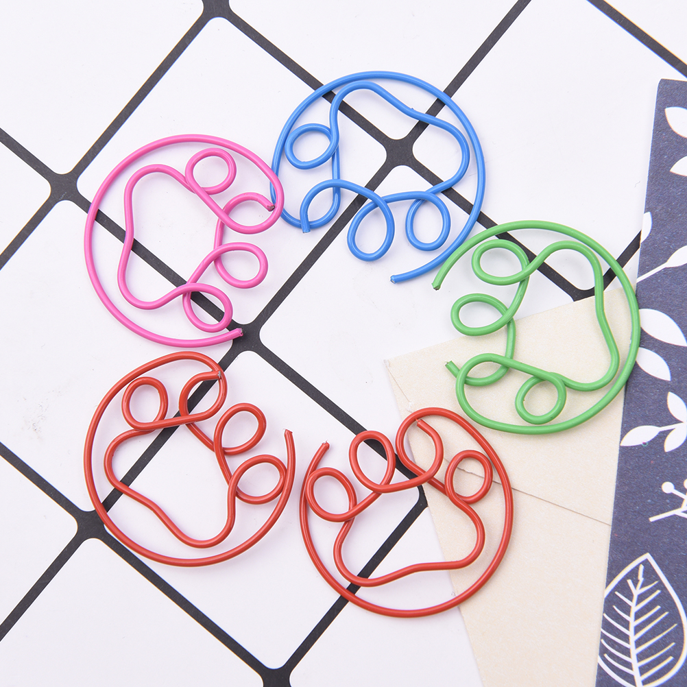 5pcs/pack Cute Korean Paw Shaped Metal Paper Clip Gold Silver Black Color Bookmark Stationery Office Accessory School Supply
