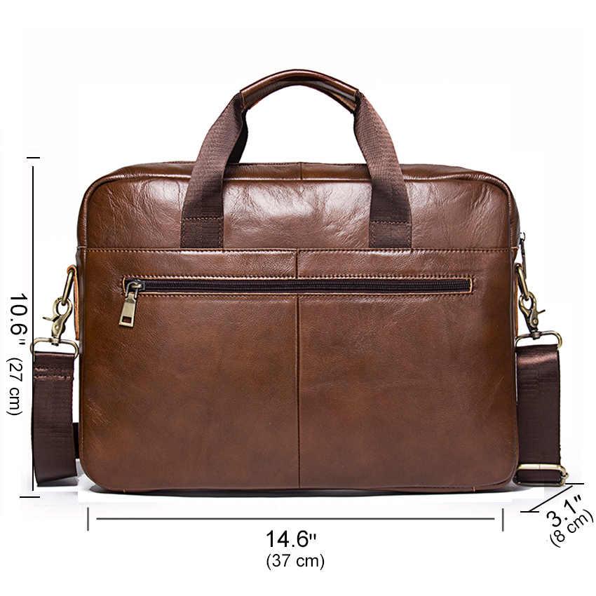 """CONTACT'S جديد 100% جلد أصلي للرجال حقيبة ل 14 """"كمبيوتر محمول حقيبة أعمال حقائب كتف الذكور بولسو hombre حقيبة ساعي"""