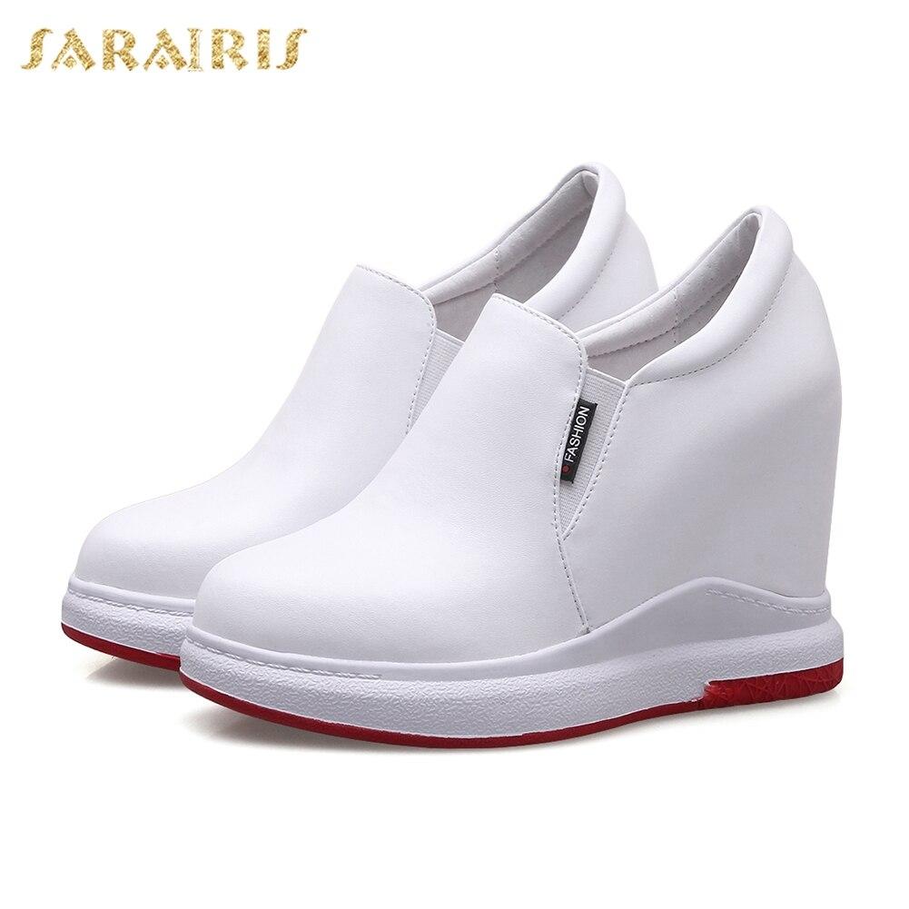 SARAIRIS/2018 коровья кожа большой Размеры 31-40 увеличивающая рост на платформе оптовая продажа женская обувь Однотонная повседневная обувь вулка...