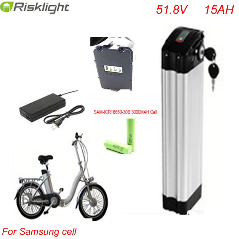 Bottom Discharge Lithium Battery 51 8V 15ah 1000w Electric Bike Battery Silver Fish Type Battery