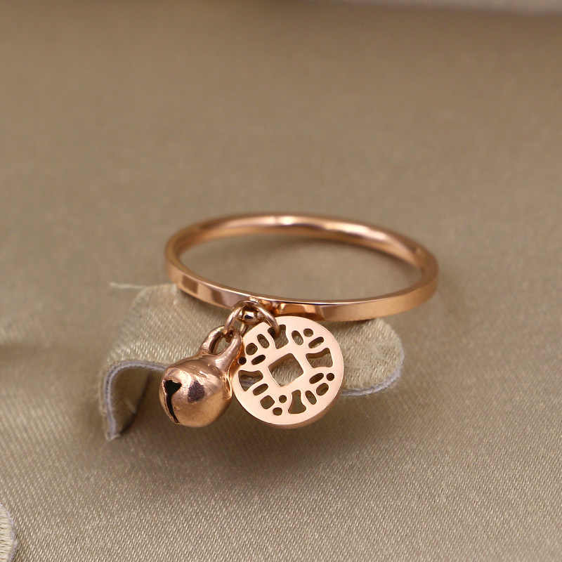 Martick Finger Jewelry Rose Gold-color Rings 316L Stainless Steel Rings With Bells Coins For Lovely Girl Party Rings R26