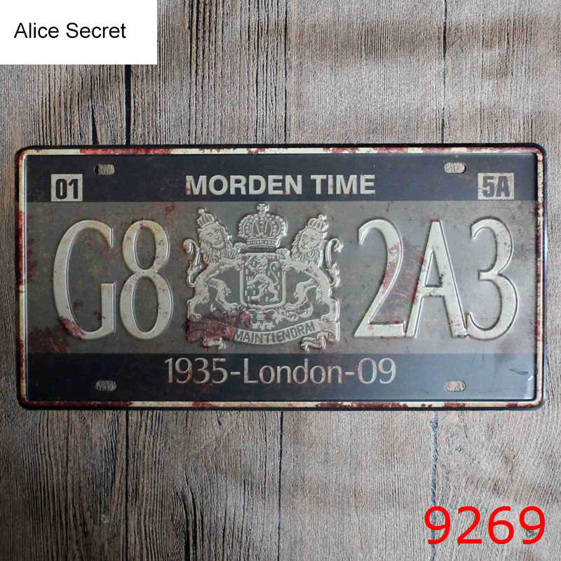 Car No. Decorative Metal Plates Vintage Metal tin sign Wall art craft painting metal art for Home Bar Store Pub 15x30cm