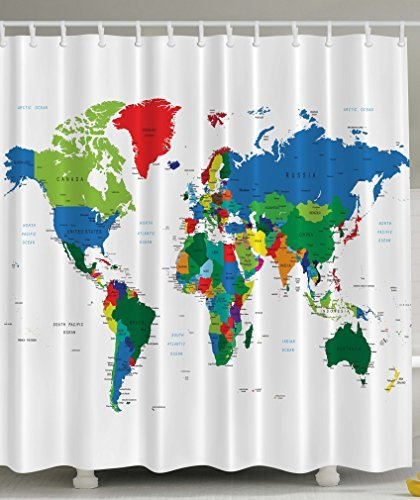 World Map Shower Curtain Novelty Modern Home Designer Bath Accessories Fabric In Curtains From Garden On Aliexpress