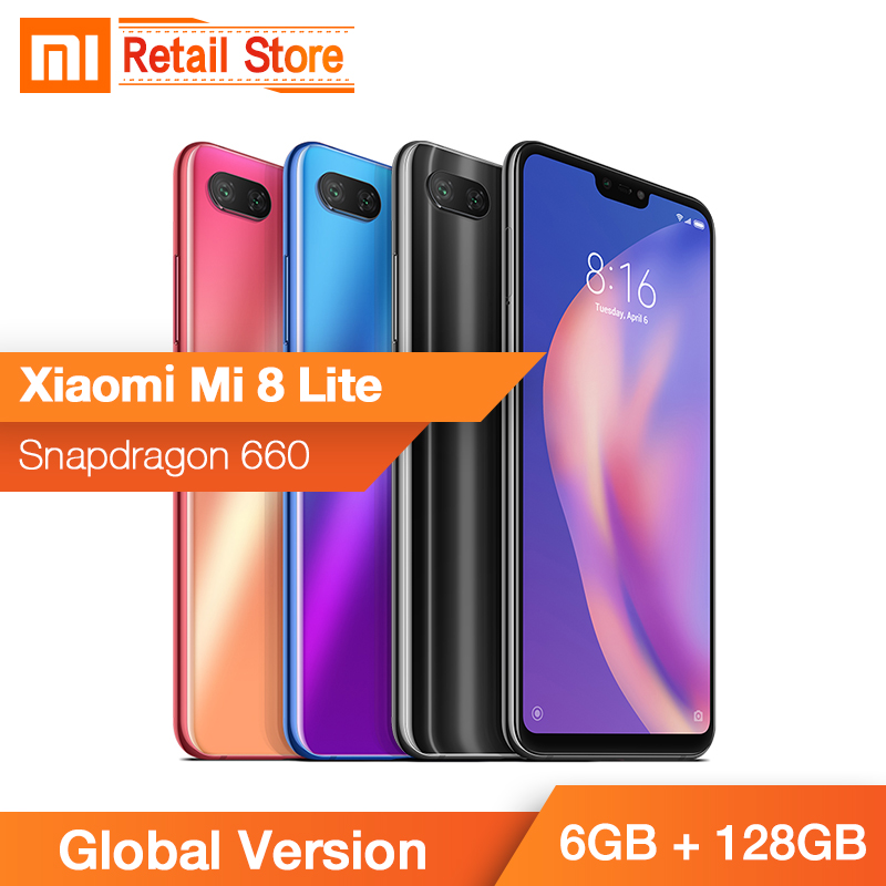 In Stocks Global Version Xiaomi Mi 8 Lite Mobile Phone 6GB RAM 128GB ROM Snapdragon 660 Octa Core 24MP Front Camera 6.26