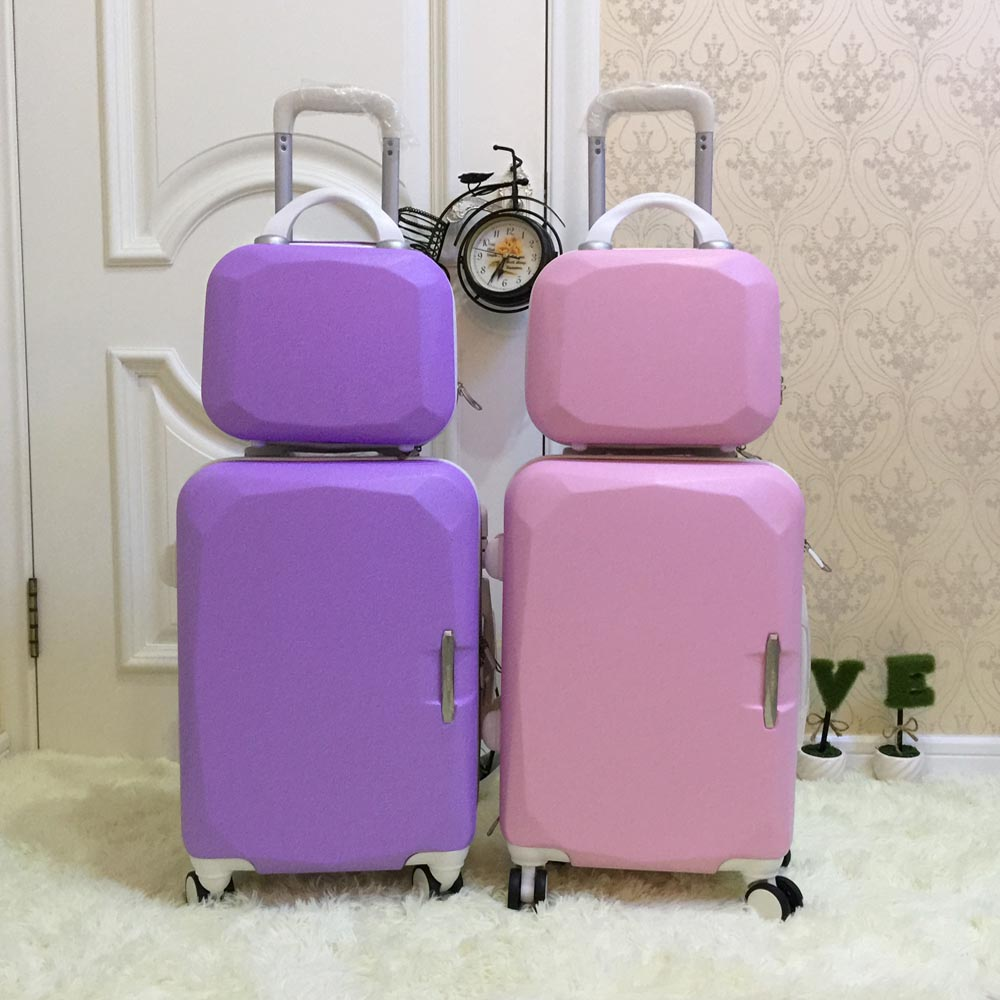 Picture box universal wheels trolley luggage 14 20 child travel bag sub-trunk sets,high quality children travel luggage set