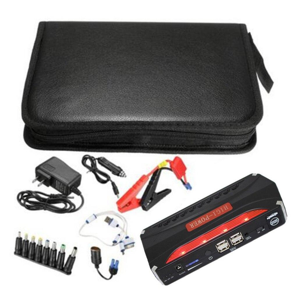 Multi fonction voiture saut démarreur Portable 4 USB voiture alimentation Rechargeable batterie externe haute puissance batterie accessoire vente chaude