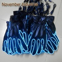 Electroluminecent Wire/Neon EL Wire/Flashing Gloves with Brightness Color Red+Free Shipping