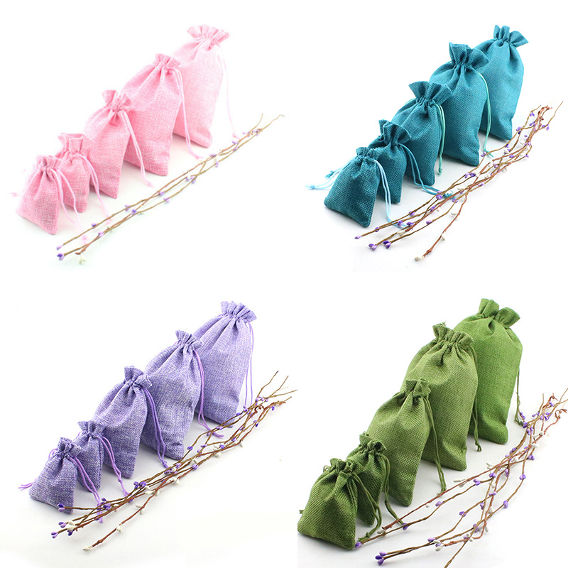 10pcs/lot Multi Colors Imitation Cotton Linen Drawstring Bags 7x9 8x10 10x14 13x18cm Organza Storage Pouches Bag Jewelry Package