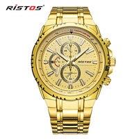 RISTOS Fashion Male Watches Military Wristwatch Stainless Steel Reloj Hombre Men Quartz Watch Reloj Masculino Extreme