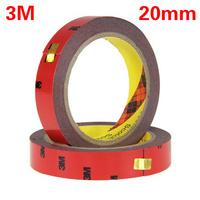 3M Tape Black 20mm Double Sided Sticker Acrylic Foam Adhesive Car Interior Tape Free Shipping