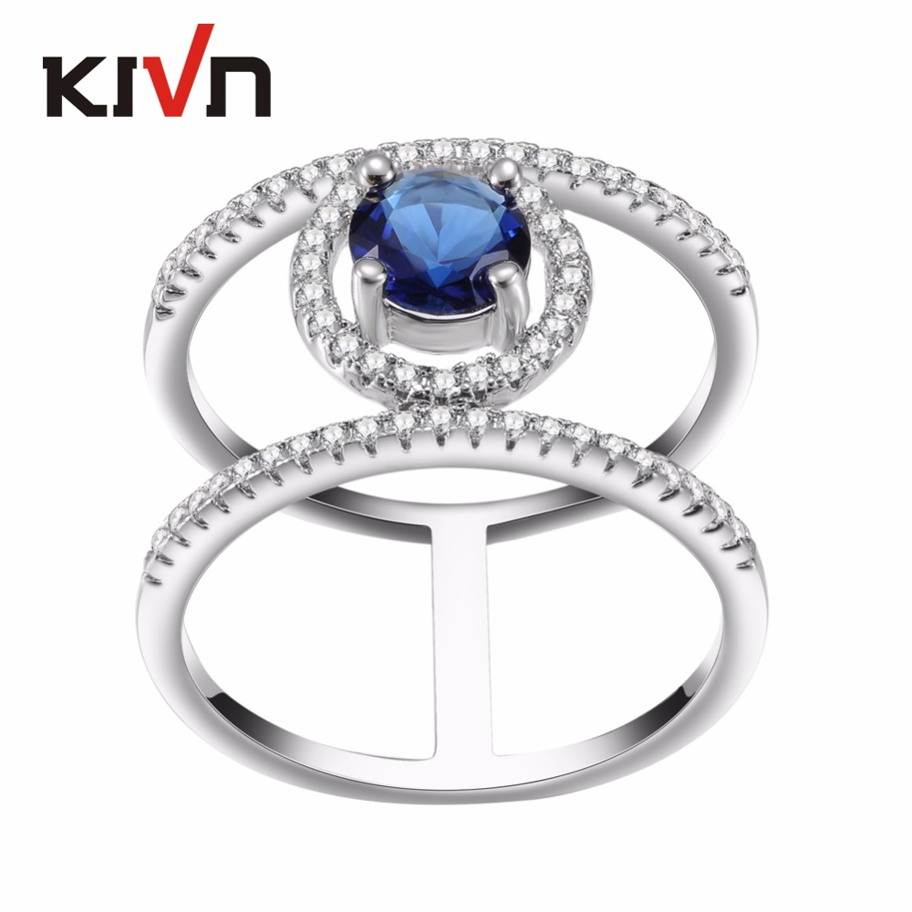 KIVN Fashion Jewelry Pave CZ Cubic Zirconia Wedding Bridal Engagement Rings For Women
