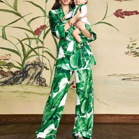 New fashion leisure suit female banana printing accept waist coat wide legged pants two piece outfit