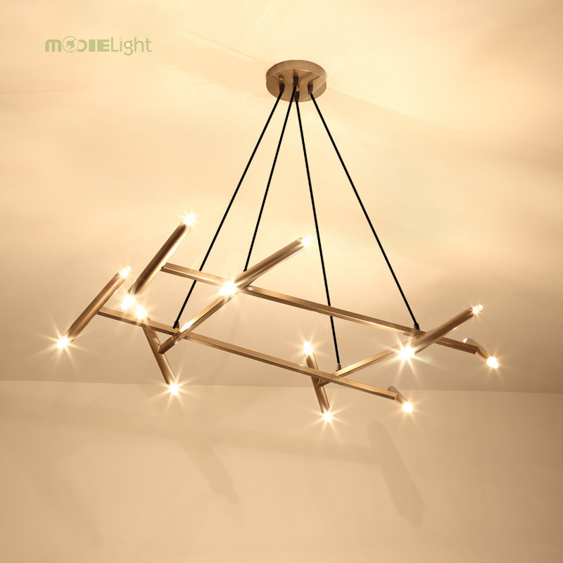 Nordic Restaurant Living Room American-style Branch Chandelier Miter Tube Branch Shape Nordic Simple Post-modern Branch Ceiling Lights & Fans