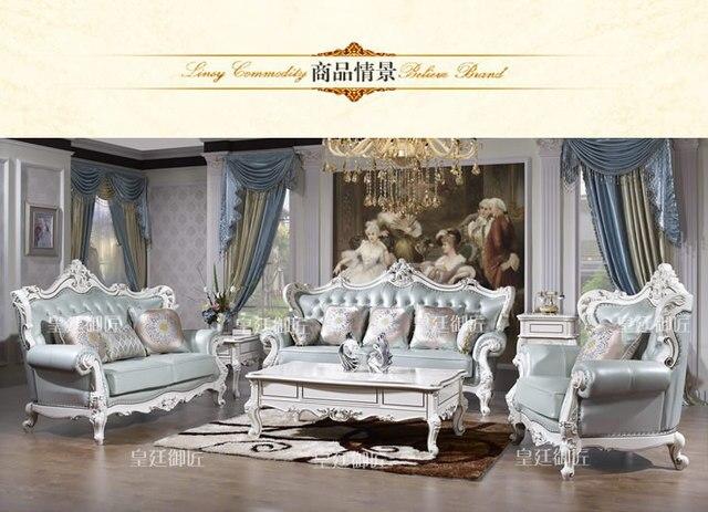Stile antico mobili Classici Vera pelle soggiorno divano con pouf ...