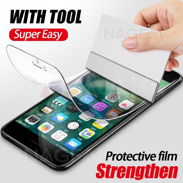 NAGFAK 0.15 มิลลิเมตร Hydrogel เมมเบรนฟิล์มสำหรับ iPhone 8 7 Plus 6 6 วินาที Plus X เครื่องมือป้องกันหน้าจอสำหรับ iPhoneX (แก้ว)