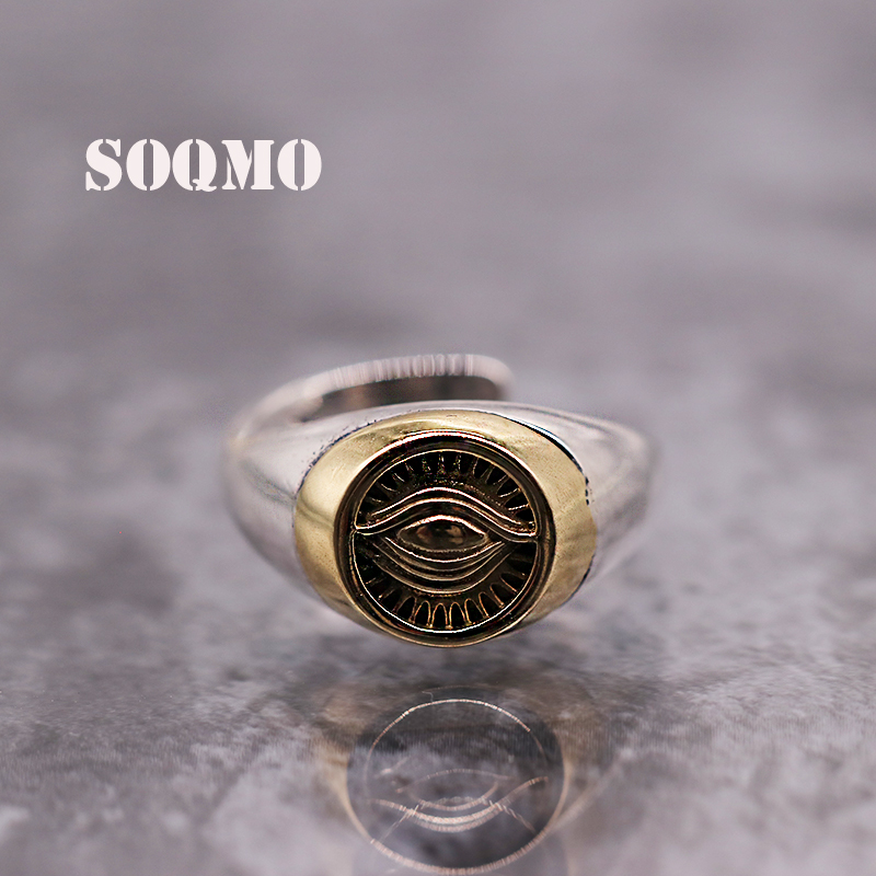 SOQMO Authentic 925 Silver Gold Color God Eye Opening Ring For Men Women Vintage Punk Male Personalized Sterling Silver Jewelry
