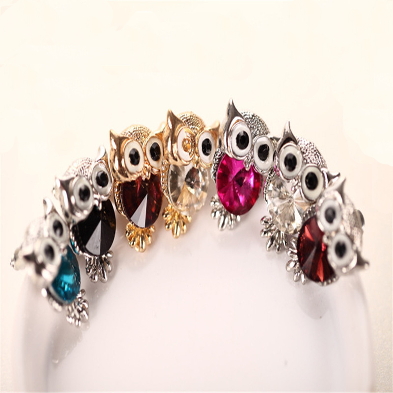 iMucci Fashion Cute Crystal Owl Girl Stud Earrings For Women Vintage Gold-Color Animal Statement Earrings Free Shipping