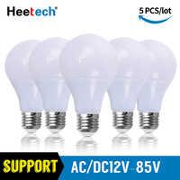 5 unids/lote Bombilla LED E27 lámparas CC CA 12V 24V 36V Luz LED 3W 5W 7W 9W 15W 24W 36W Bombilla Led baja tensión