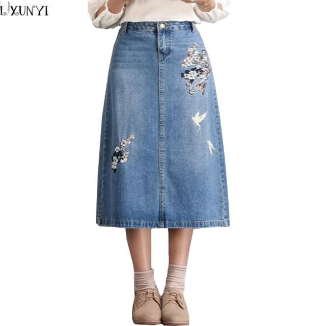 7fe055dcff LXUNYI 6XL 7XL 8XL Plus Size Long Denim Skirt Women New Autumn jean Skirts  Womens 2019 Vintage Embroidery jeans Skirt High Waist