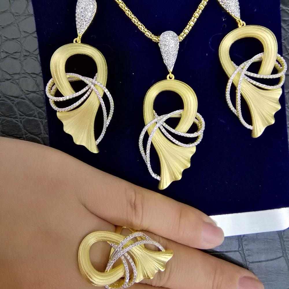 GODKI Luxury Ginkgo Leaf African Bangle Ring Set Indian Jewelry Sets For Women Wedding Engagement brincos