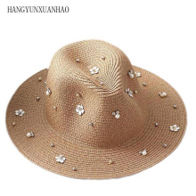 2019 New Spring Summer Sun Hat  For Women Flower Beads Wide Brimmed Jazz Panama Hat Sun Visor Beach Hat Straw Hat multi brimmed sinamay hat