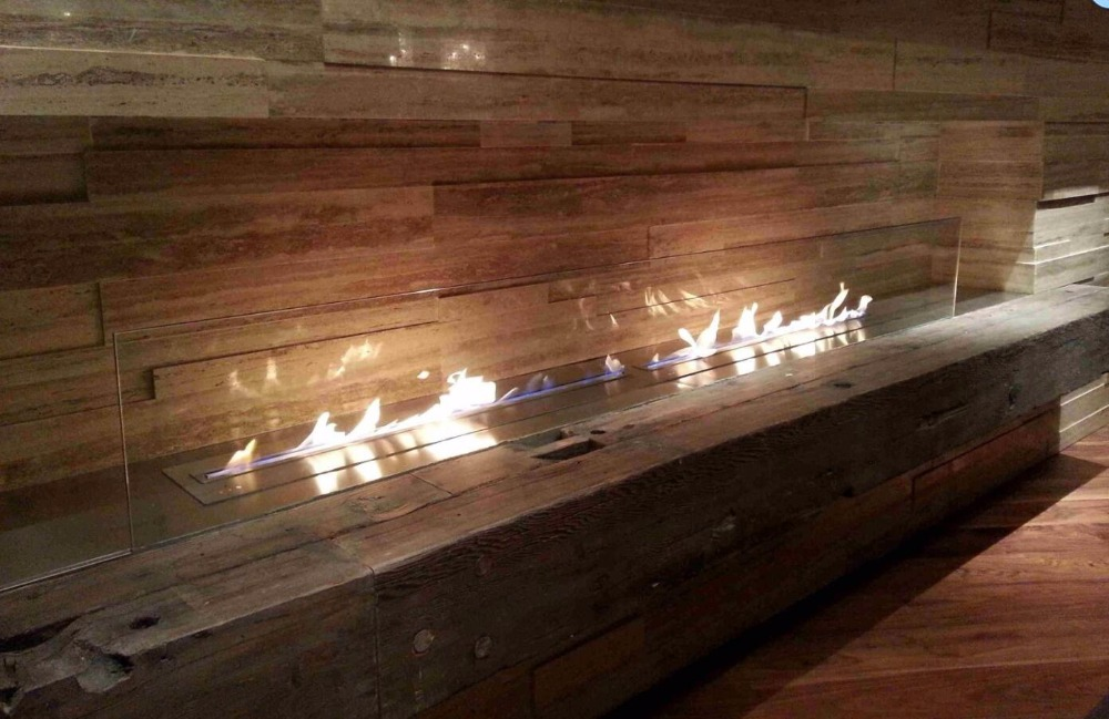 60 Inch Deluxe Inserted Indoor Remote Control  Black Or Silver  Bio Ethanol Fireplaces Design