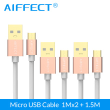 AIFFECT 3 Pieces Micro USB Cable High Speed Micro-USB B to Data Charging Sync Cord Line 3.3FTx2 and 5FTx1