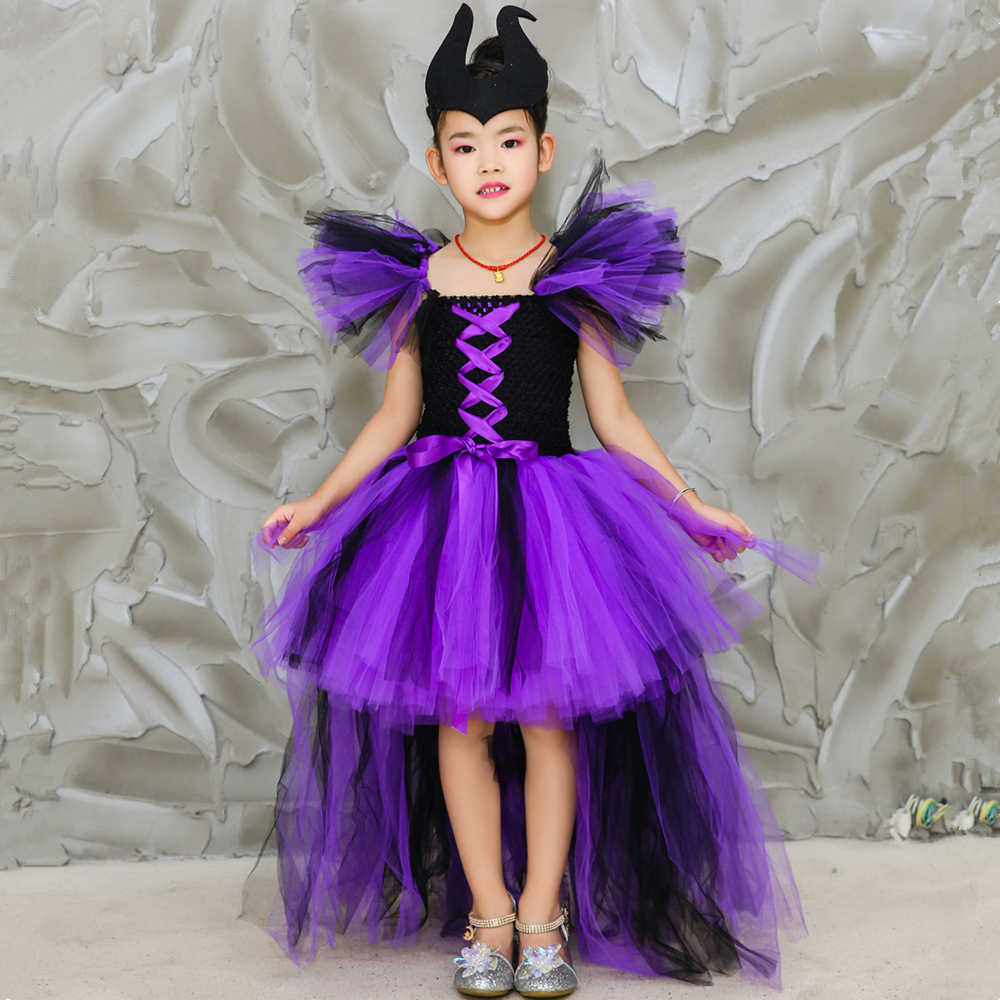 Maleficent Evil Queen Girls Tutu Dress With Horns Children Cosplay Witch Halloween Costumes For Girls Kids Fancy Party Dress