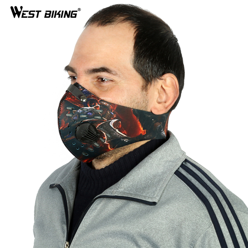 WEST BIKING Cycling Face Shield Bicycle MTB Riding Mask Sport Outdoor Warm Activated Carbon Dustproof Anti-haze PM2.5 Face Mask