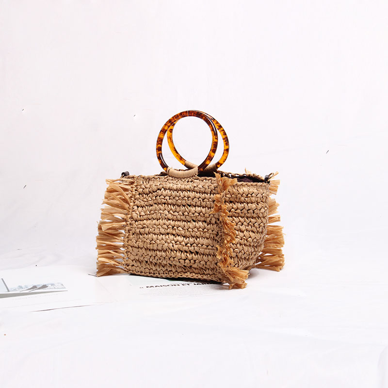Weaving Women Bags Straw Tassel Bag Amber Circle Handle 2019 New Summer Holiday Beach Bag Shoulder Bag Hand Bag DesignerWeaving Women Bags Straw Tassel Bag Amber Circle Handle 2019 New Summer Holiday Beach Bag Shoulder Bag Hand Bag Designer