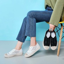 купить Liren 2019 Fashion Casual Lace Women Casual Comfortable Canvas Flat Shoes Female Summer Slip on Loafers Women Sneakers Platform дешево